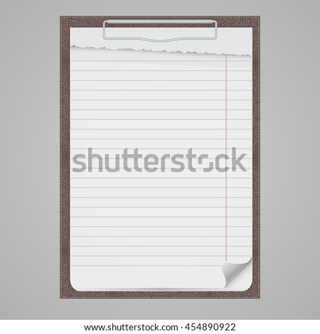 Clipboard with blank paper, vector eps10 illustration. - stock vector