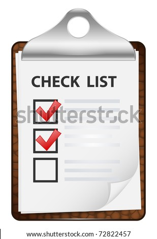 Clipboard with check list. Vector icon - stock vector