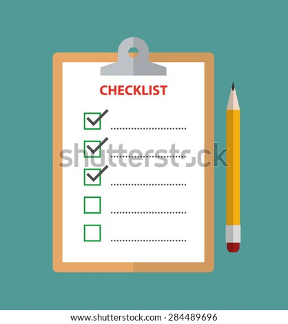 Clipboard with checklist and pencil - flat style - stock vector