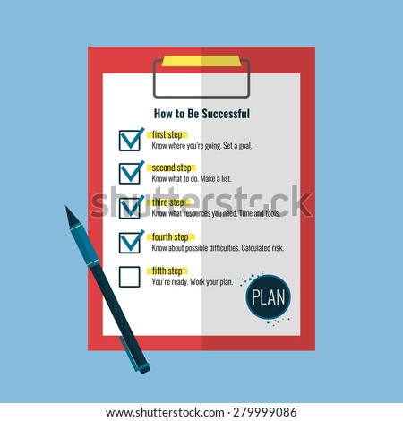 Clipboard with checklist of success plan and pen  in flat style. Vector illustration. - stock vector