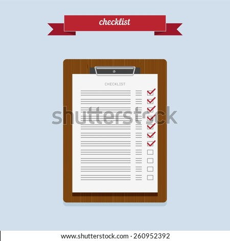 Clipboard with checklist on grey background. Flat style design - vector. - stock vector