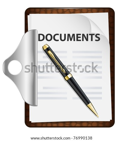 Clipboard with documents and pen. Vector icon - stock vector