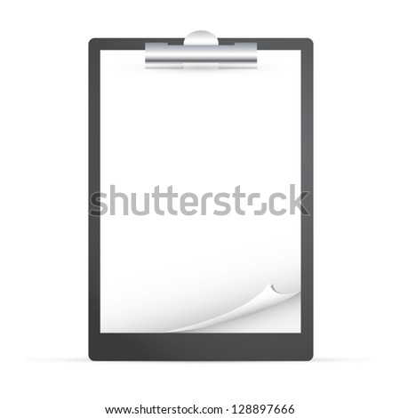 Clipboard with empty curved paper vector EPS10 - stock vector