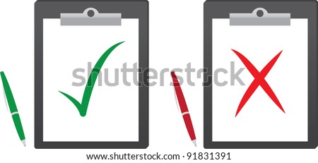 Clipboard with green check mark and red x - stock vector