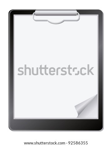 Clipboard with paper. - stock vector