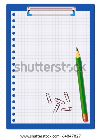 Clipboard with paper sheet, pencil and staples - stock vector