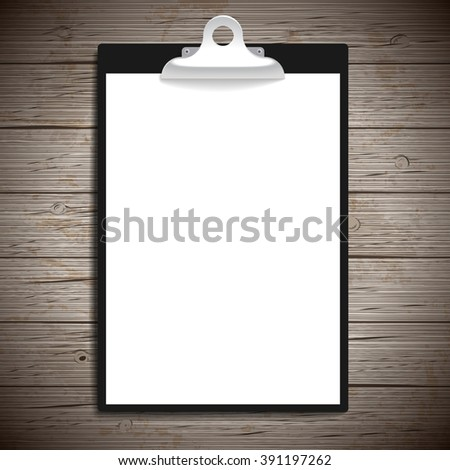 Clipboard with paper vintage background. Vector illustration. - stock vector