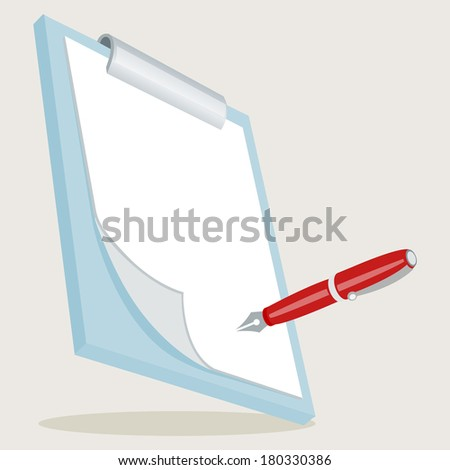 Clipboard with Pen. Illustration of clipboard with checklist. Concept vector graphic for Creative. All in a single layer. - stock vector