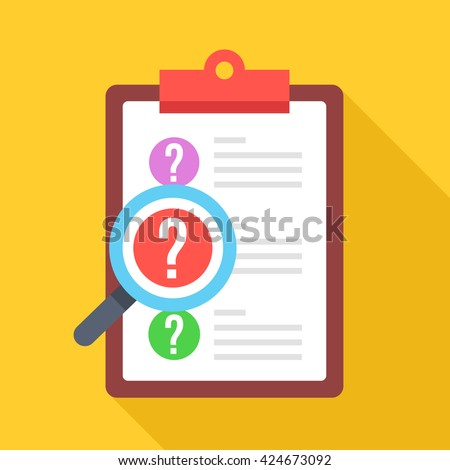 Clipboard with question marks and magnifying glass. Survey, quiz, investigation, customer support questions concepts. Flat design vector icon with long shadow isolated on yellow background - stock vector