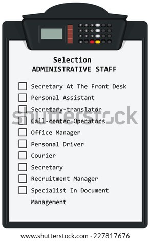 Clipboard with Selection Administrative Staff. Vector illustration. - stock vector