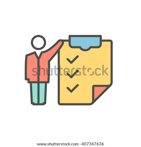 Clipboard with the schedule contour icon. Flat design. - stock vector