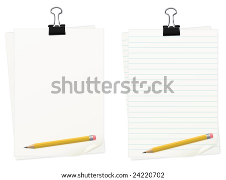 Clipped Paper With Pencil Set. Easy To Edit Vector Image. - stock vector