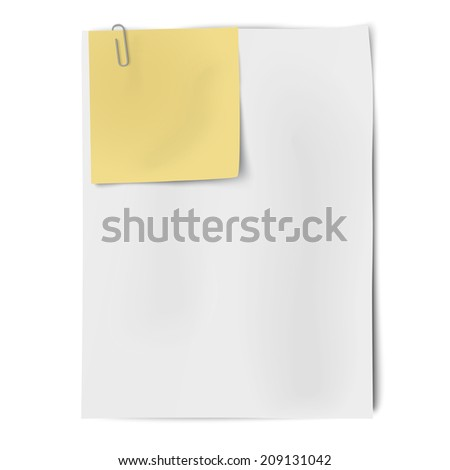 Clipped sheets of sticky note and A4 white paper - stock vector