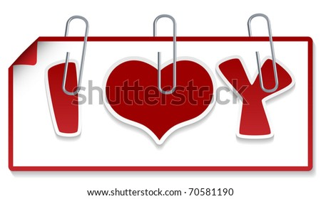 "Clipped sign ""I love you"" (Element for design vector illustration) - stock vector"