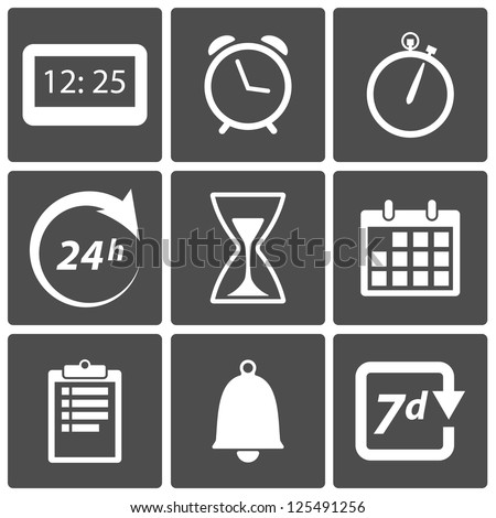 Clock and time icons: day and night, alarm, date symbols - stock vector
