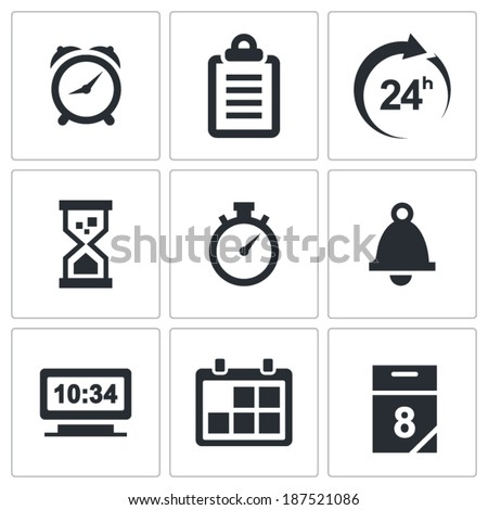 Clock and time icons on white background  - stock vector