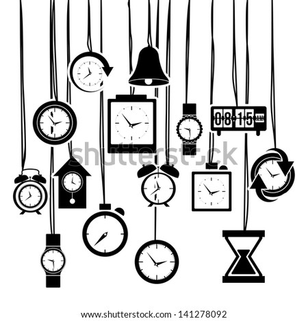 clock and time icons over white background vector illustration - stock vector