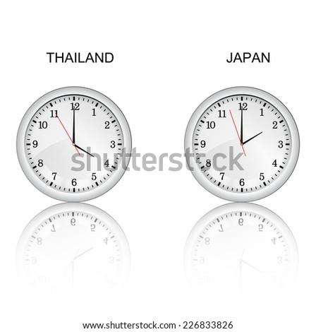 Clock and time zones vector