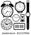 clock and watch collection black and white - stock vector