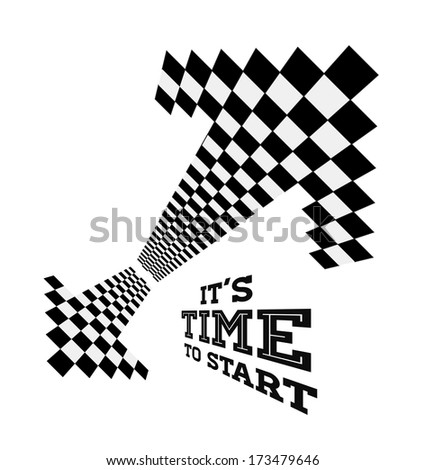 Clock arrows in the form of checkered flag. Vector concept illustration - stock vector
