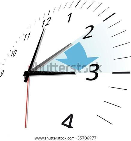 clock  change, skipping 1 hour - stock vector