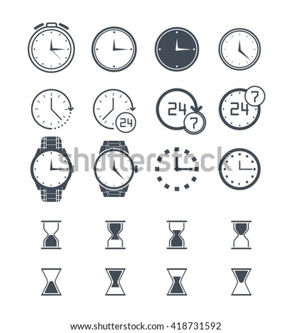 Clock. Clock icon set. Clock Vector time icon. Clock icon isolated on white. Sand clock set, 24h clock collection. Stopwatch clock icon. Clock icon flat. Wall clock icon. Wrist clock, alarm clock icon - stock vector