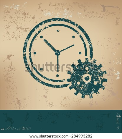 Clock design on old paper background,grunge concept,vector - stock vector