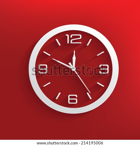 Clock design on red background,clean vector - stock vector