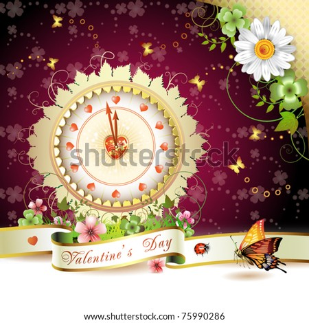 Clock design with Valentine's day theme over springtime background - stock vector