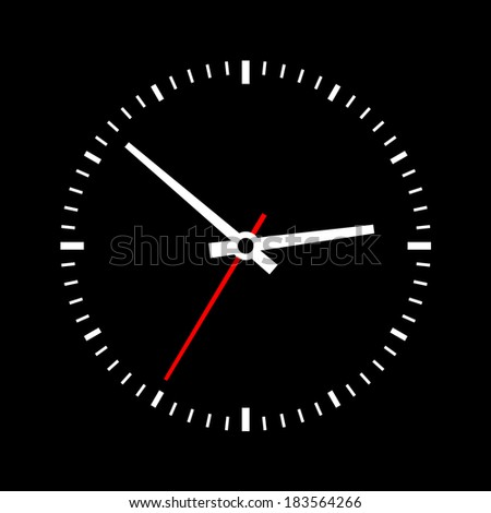 Clock dial on a black background. Vector - stock vector