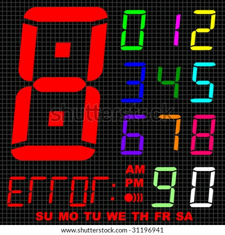 Clock digits set. - stock vector