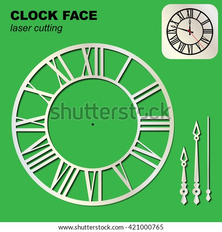 Clock Face Template Arrows Suitable Laser Stock Vector
