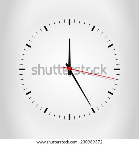 Clock face with shadow on white background. Vector illustration EPS10 - stock vector