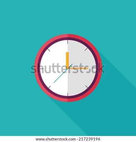Clock flat icon with long shadow,eps10 - stock vector