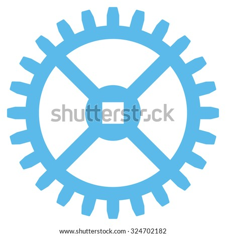 Clock Gear vector icon. Style is flat symbol, blue color, rounded angles, white background. - stock vector