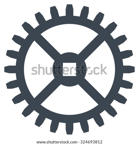 Clock Gear vector icon. Style is flat symbol, smooth blue color, rounded angles, white background. - stock vector