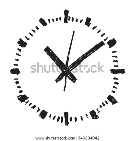 Clock hand drawn vector icon