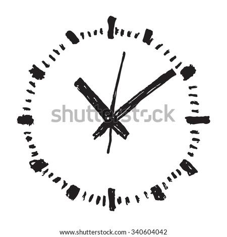 Clock hand drawn vector icon - stock vector
