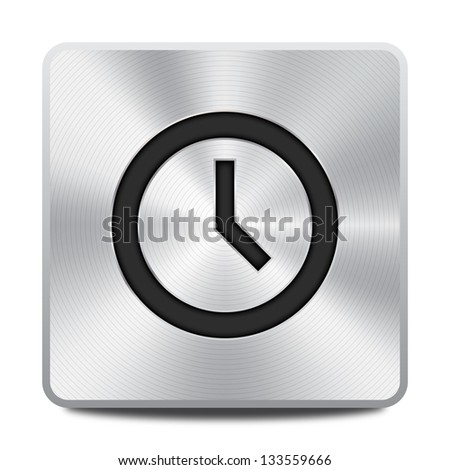 Clock icon button - stock vector