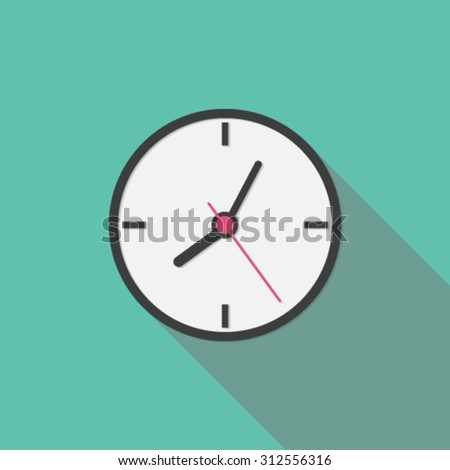 Clock icon, flat design with long shadow - stock vector