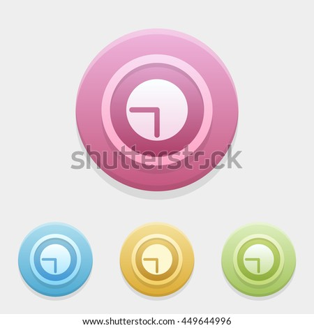 clock icon or button in flat style with long shadow, isolated vector illustration on transparent background
