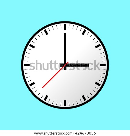 Clock icon, Vector illustration, flat design. Easy to use and edit. EPS10. Blue background.