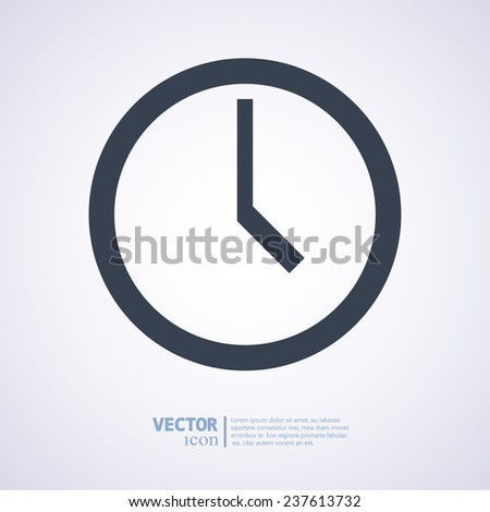 clock icon, vector illustration. Flat design style - stock vector