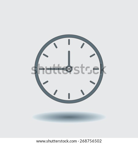 clock icon, vector illustration. Flat design style. - stock vector