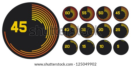 clock icons (clock set, clock design, simple timers) - stock vector