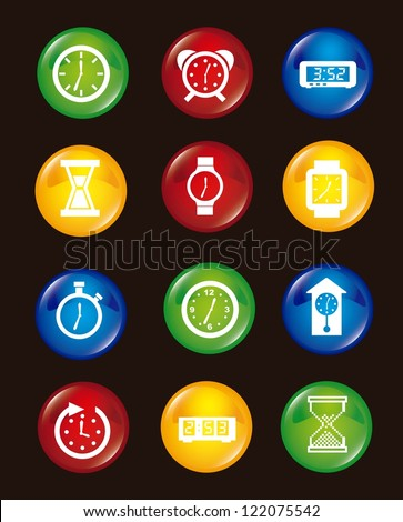 clock icons over black background. vector illustration - stock vector