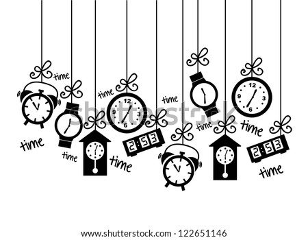 clock icons over white background. vector illustration - stock vector