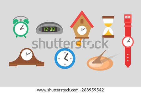 Clock icons vector set on grey background - stock vector