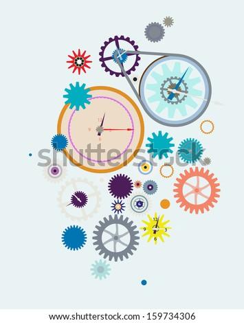 Clock mechanism cogwheels - stock vector