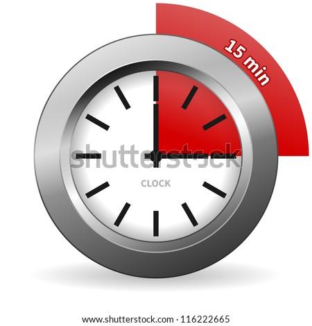 clock 15 minutes go bright chrome stock vector royalty free